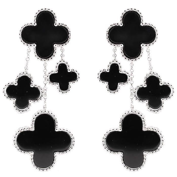 Серьги Alibi серебряные с подвесками в виде четырехлистных цветков