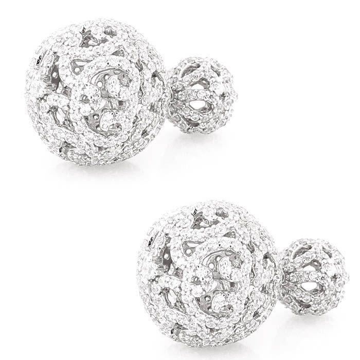 Серьги Alibi серебряные в виде сквозных шариков с цирконами