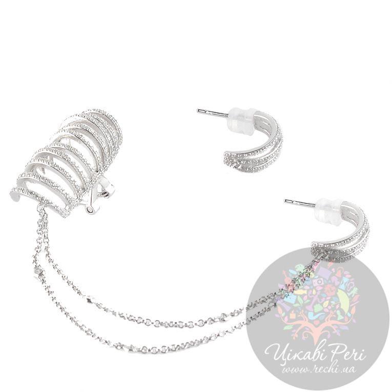Серьги каффы APM Monaco Inseparable из серебра с цирконами
