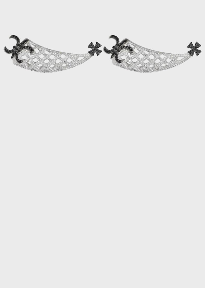 Серебряные серьги APM Monaco сеточкой в цирконах с крестом и лилиями в шпинели