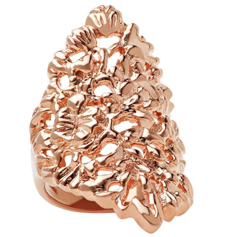 Кольцо Armadoro Jewelry скульптурное покрытое розовым золотом