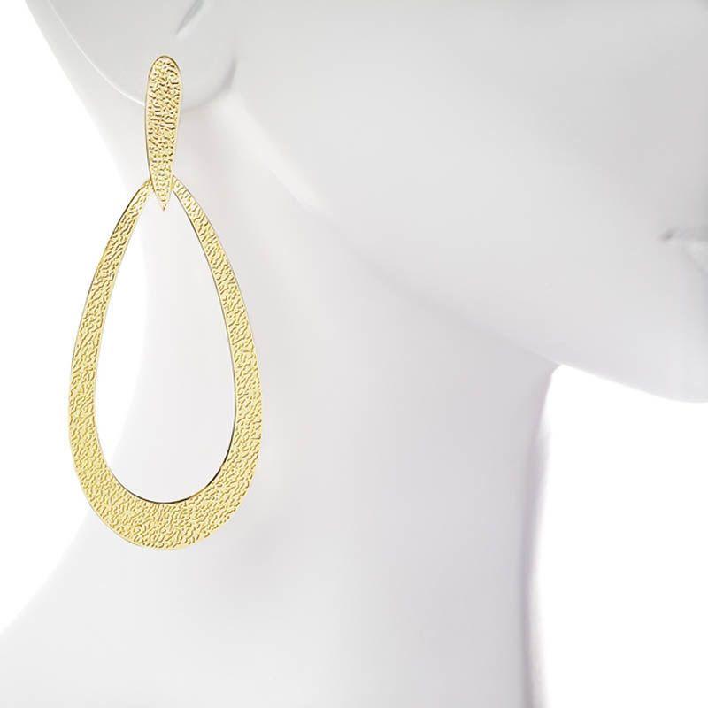 Серьги Armadoro Jewelry плоские в форме капельки с рельефной фактурой