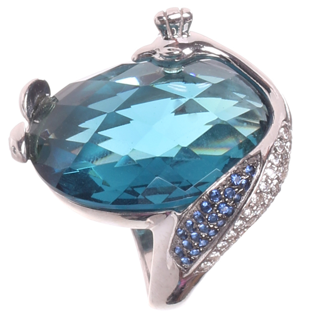 Серебряное кольцо Misis Павлин с обсидианом