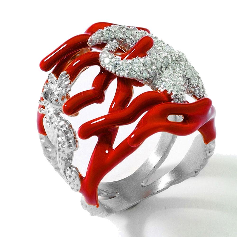 Широкое кольцо Misis Reef Party с фианитами