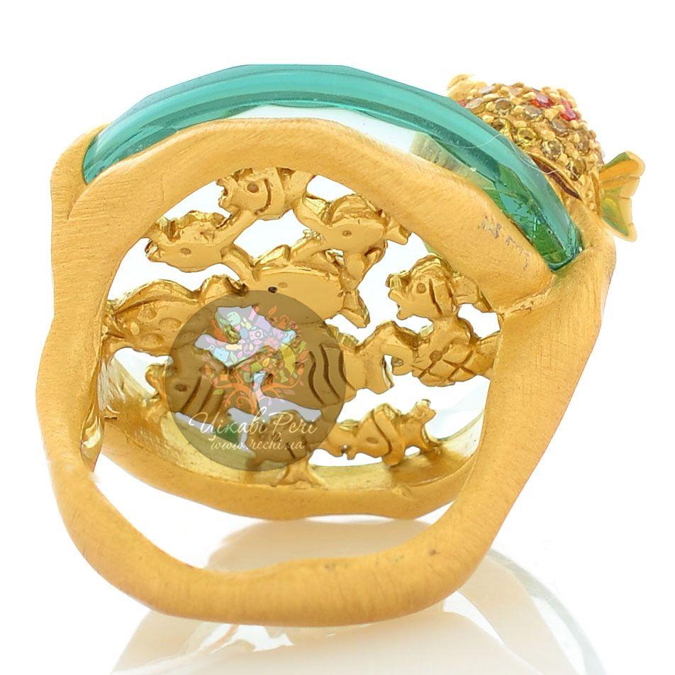 Кольцо Misis Mediterraneo Deep reef серебряное в позолоте с рыбками