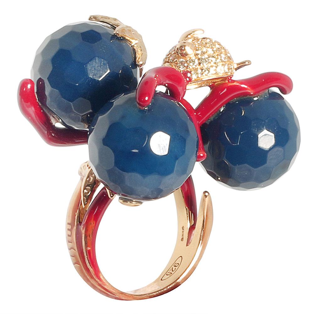 Серебряное кольцо Misis с агатами и цирконами