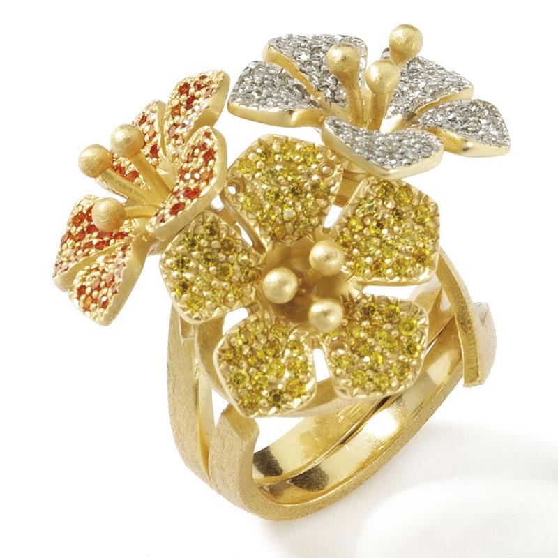 Двойное кольцо Misis Calathea с цветками