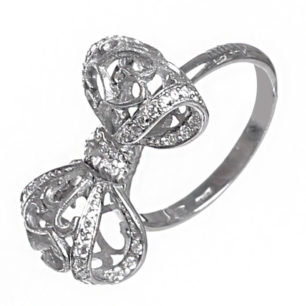 Серебряное кольцо Misis Бант с цирконами
