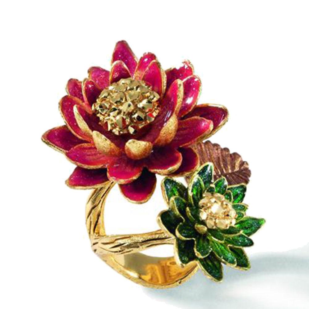 Позолоченное кольцо Misis Geisha с цветками из эмали