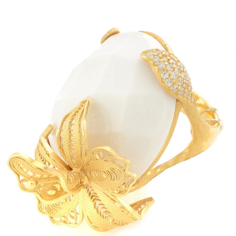 Кольцо Misis Misis A La Playa Marisol с белым агатом и золотой орхидеей
