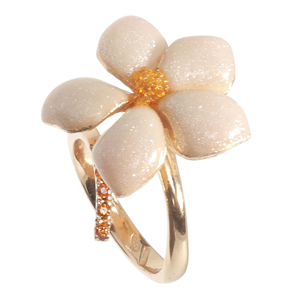Кольцо Misis серебряное с декором-цветком