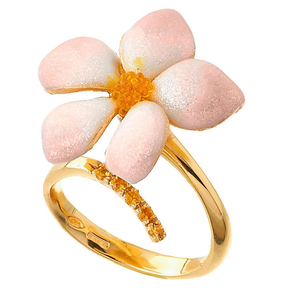 Кольцо Misis De rerum natura с цветком в розовой эмали с бриллиантовой крошкой