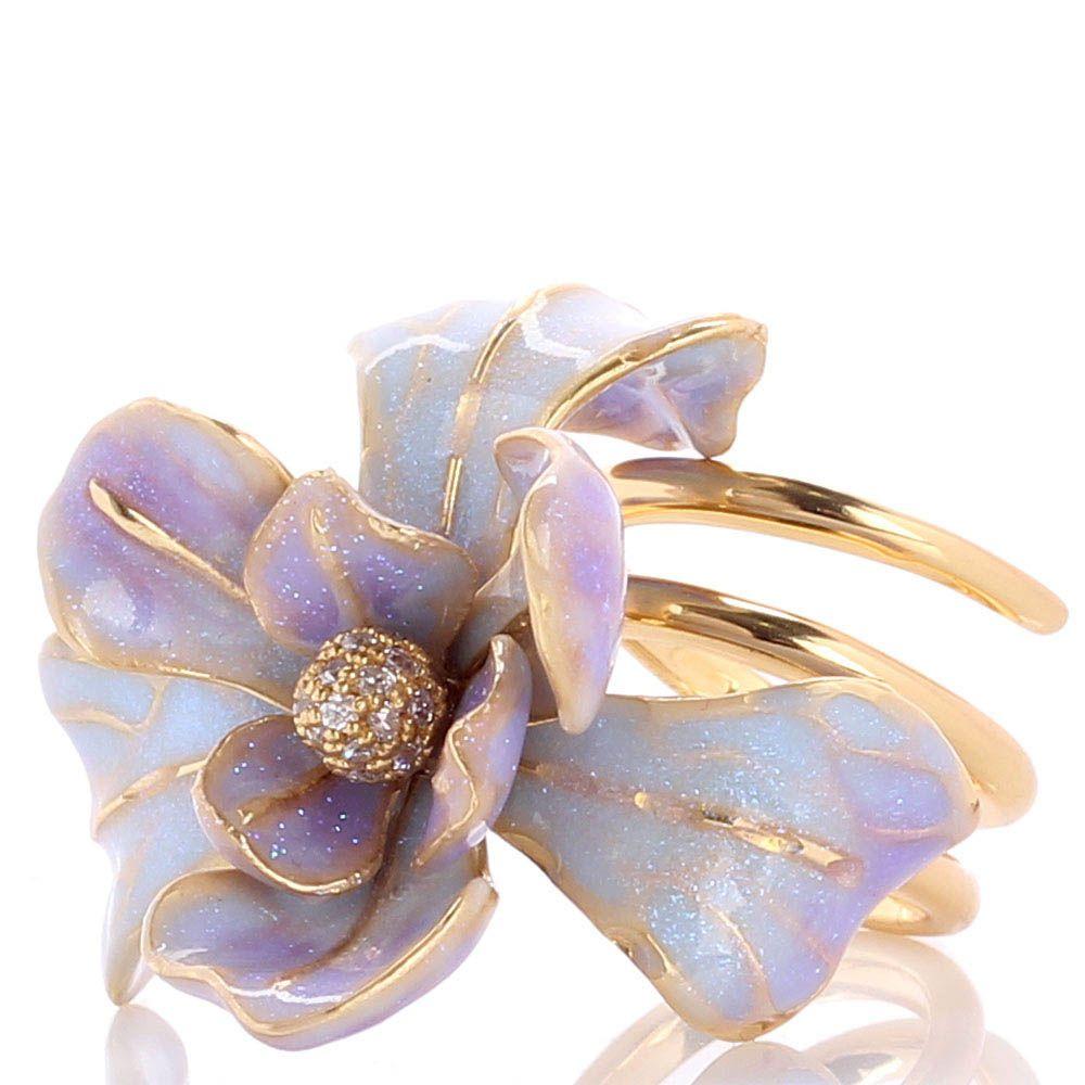 Кольцо Misis Gemina с крупным цветком ириса сиреневого цвета и цирконами