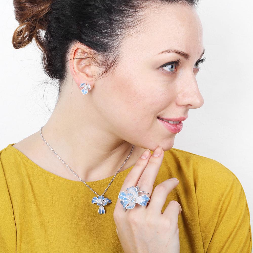 Кольцо Misis Gemina с цветком ириса голубого цвета