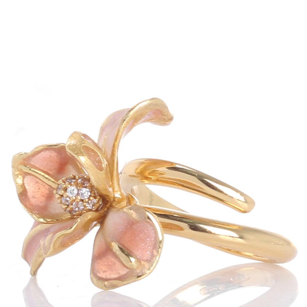 Кольцо Misis Gemina с цирконами и цветком розового цвета