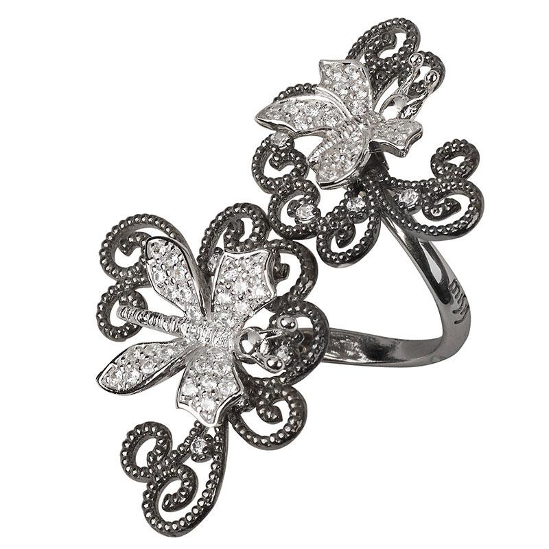 Серебряный перстень Misis Minervia в виде спирали с бабочками
