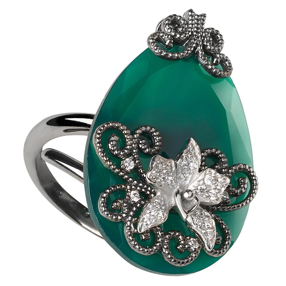 Перстень Misis Minervia в виде спирали с зеленым агатом