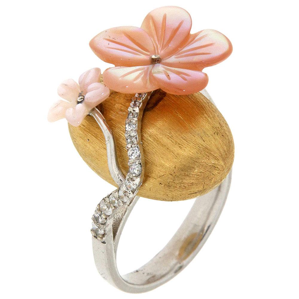 Перстень Misis Asolo с фианитами и розовым перламутром