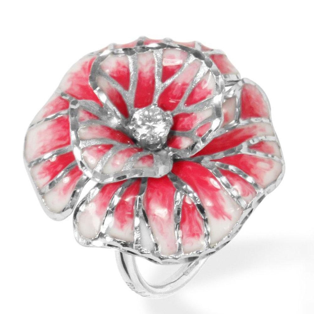 Кольцо Misis Volterra в форме крупного цветка с фианитами