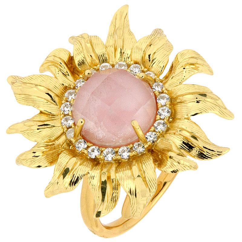 Перстень Misis Pienza с крупным подсолнухом с розовым опалом