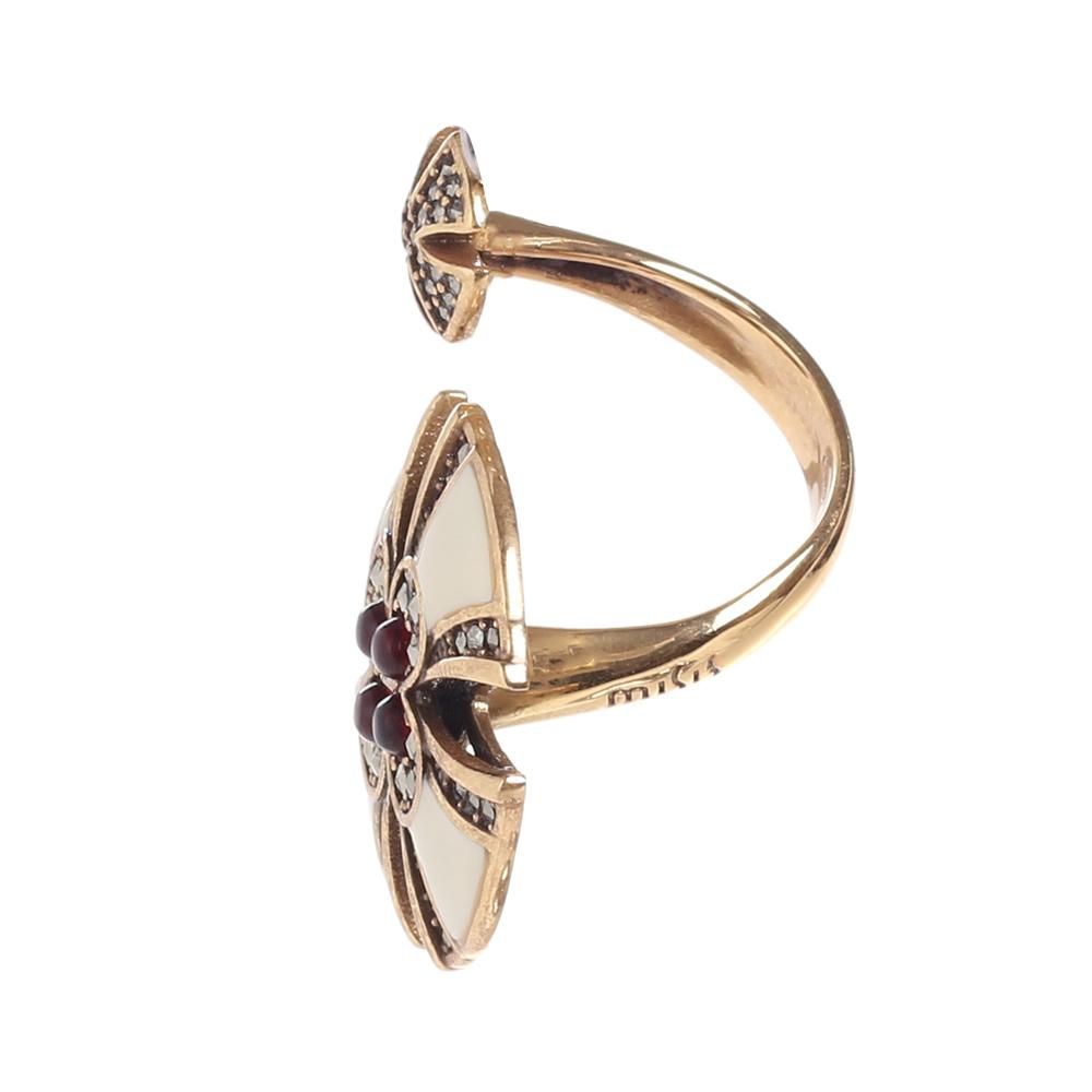 Разомкнутое кольцо Misis Artificialia с рубином и марказитом