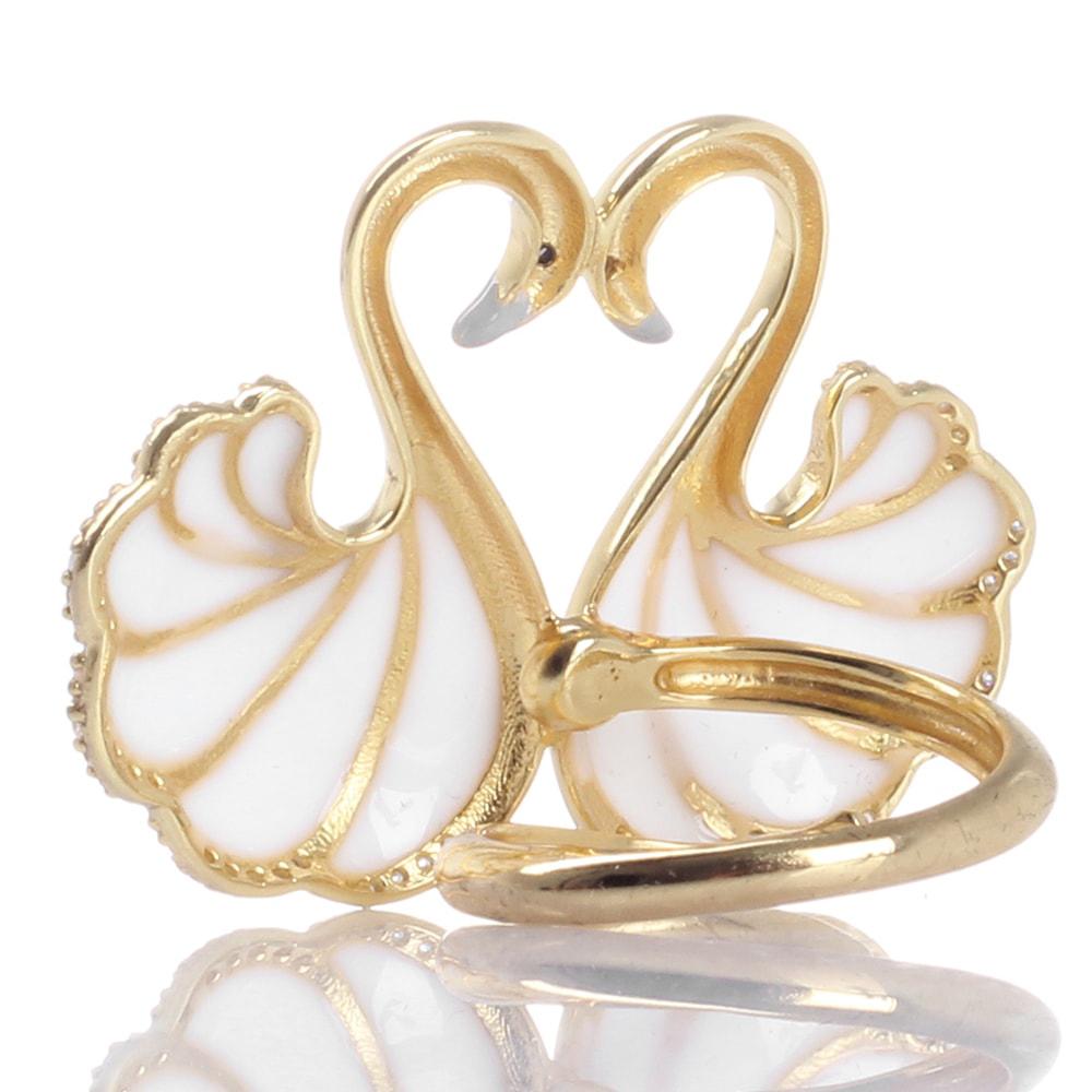 Кольцо Misis Mirabilia Лебедь с цирконами