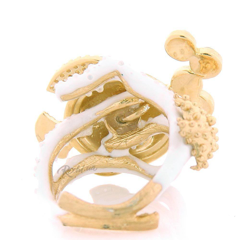 Крупное кольцо Misis в форме рыбки с сапфирами