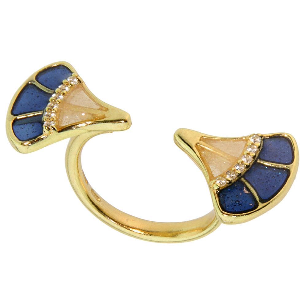 Перстень Misis Empire с перламутровой синей и бежевой эмалью