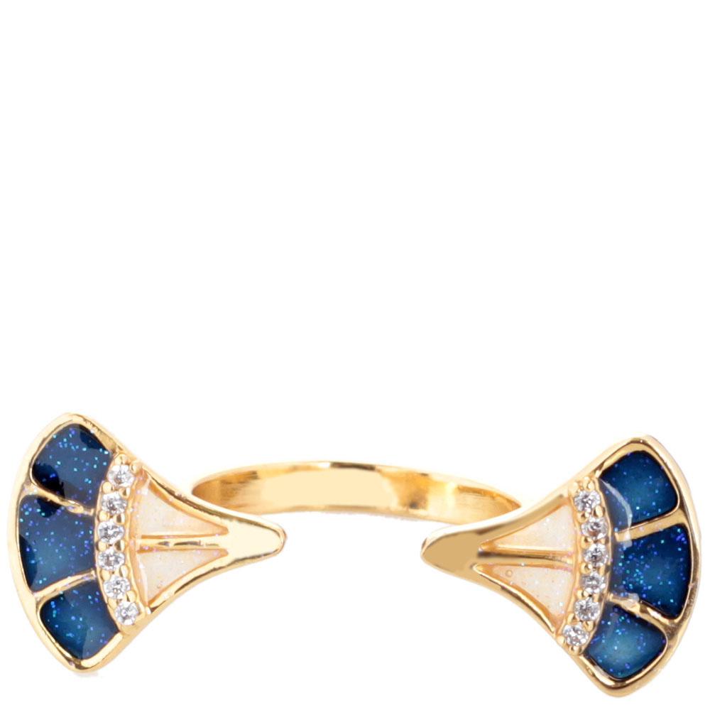 Кольцо Misis Empire с веерами с эмалью синего цвета