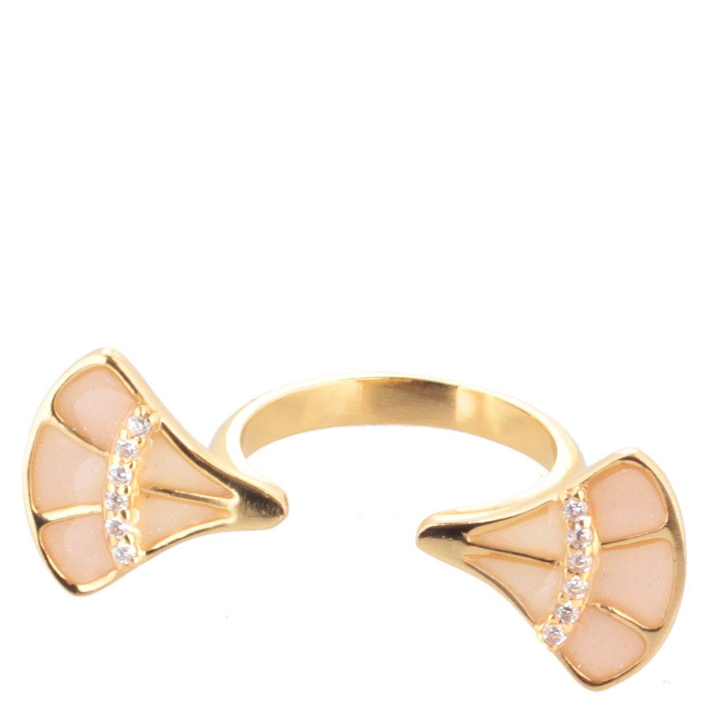 Кольцо Misis Empire с веерами с эмалью розового цвета