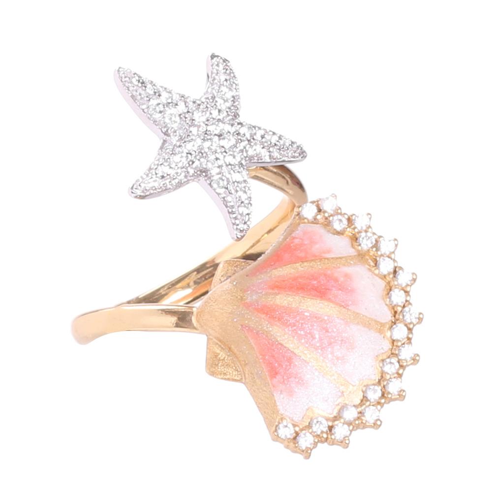 Позолоченное кольцо Misis с ракушкой и морской звездой