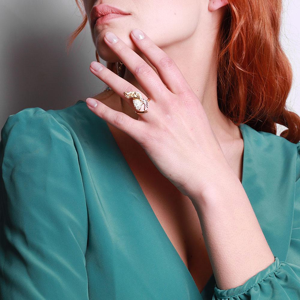 Серебряное кольцо Misis Giava с эмалью и цирконами