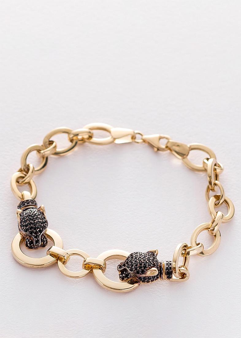 Золотой браслет с крупными звеньями и пантерами