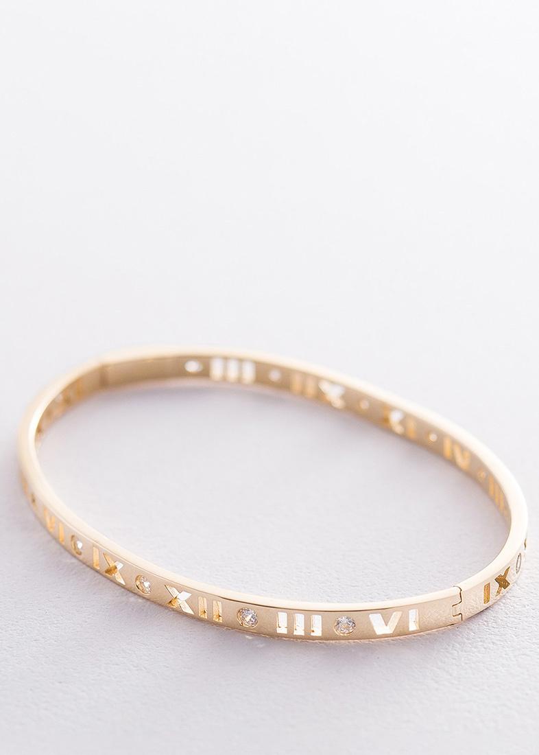 Жесткий золотой браслет Римские цифры
