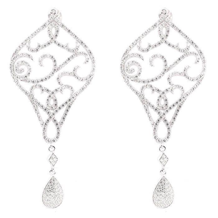 Серьги Alibi серебряные узорные в виде ромба и подвески-капельки с цирконами
