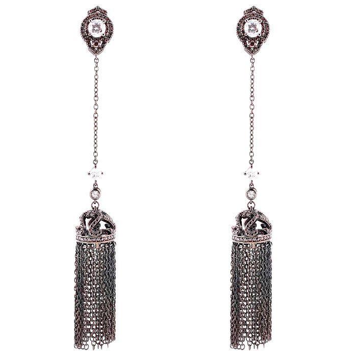 Серьги Alibi черного цвета длиные в виде купола с цепочками и цирконами цвета шампань