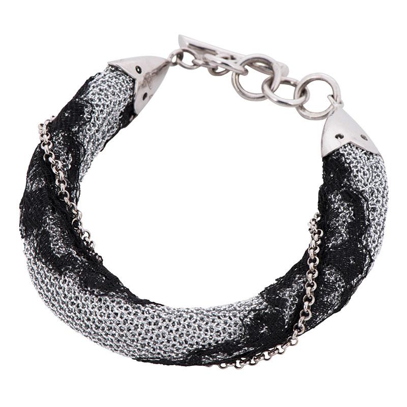 Браслет Adami & Martucci из серебряной ткани с черным кружевом