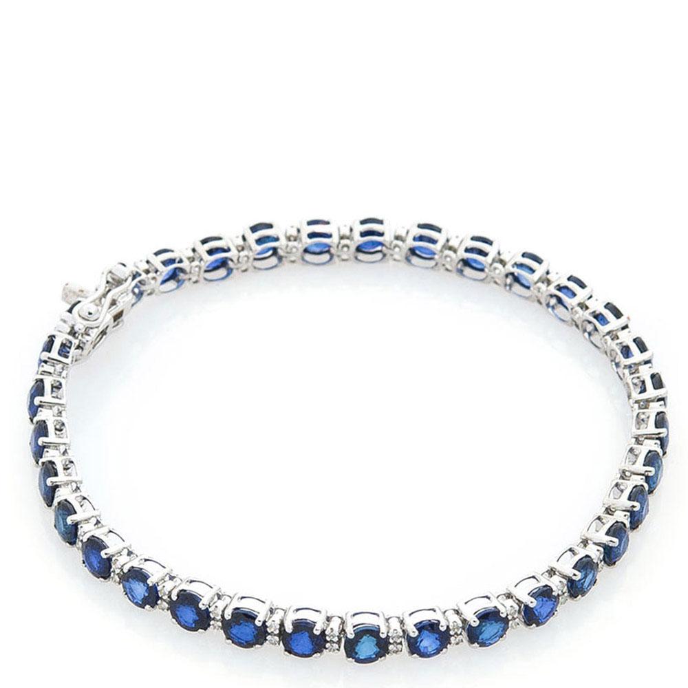 Тонкий браслет с сапфирами и бриллиантами