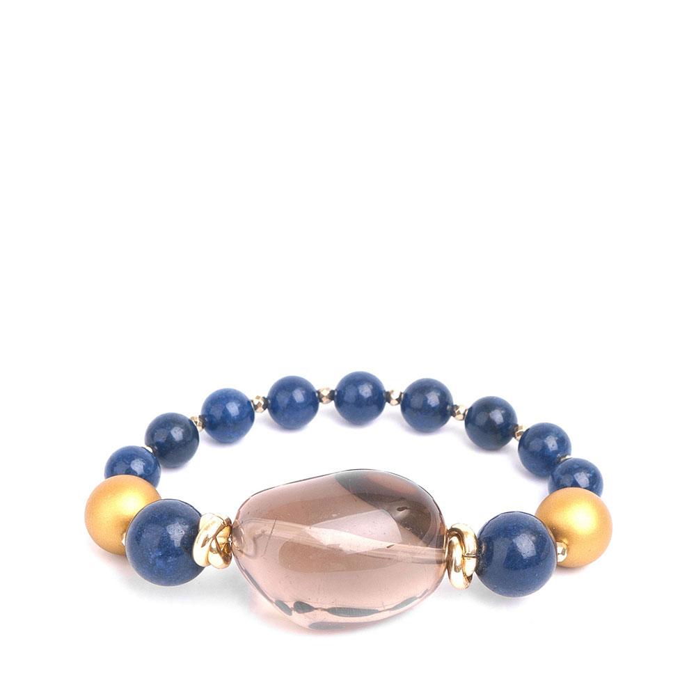 Синий браслет MasMas с позолотой и жемчугом