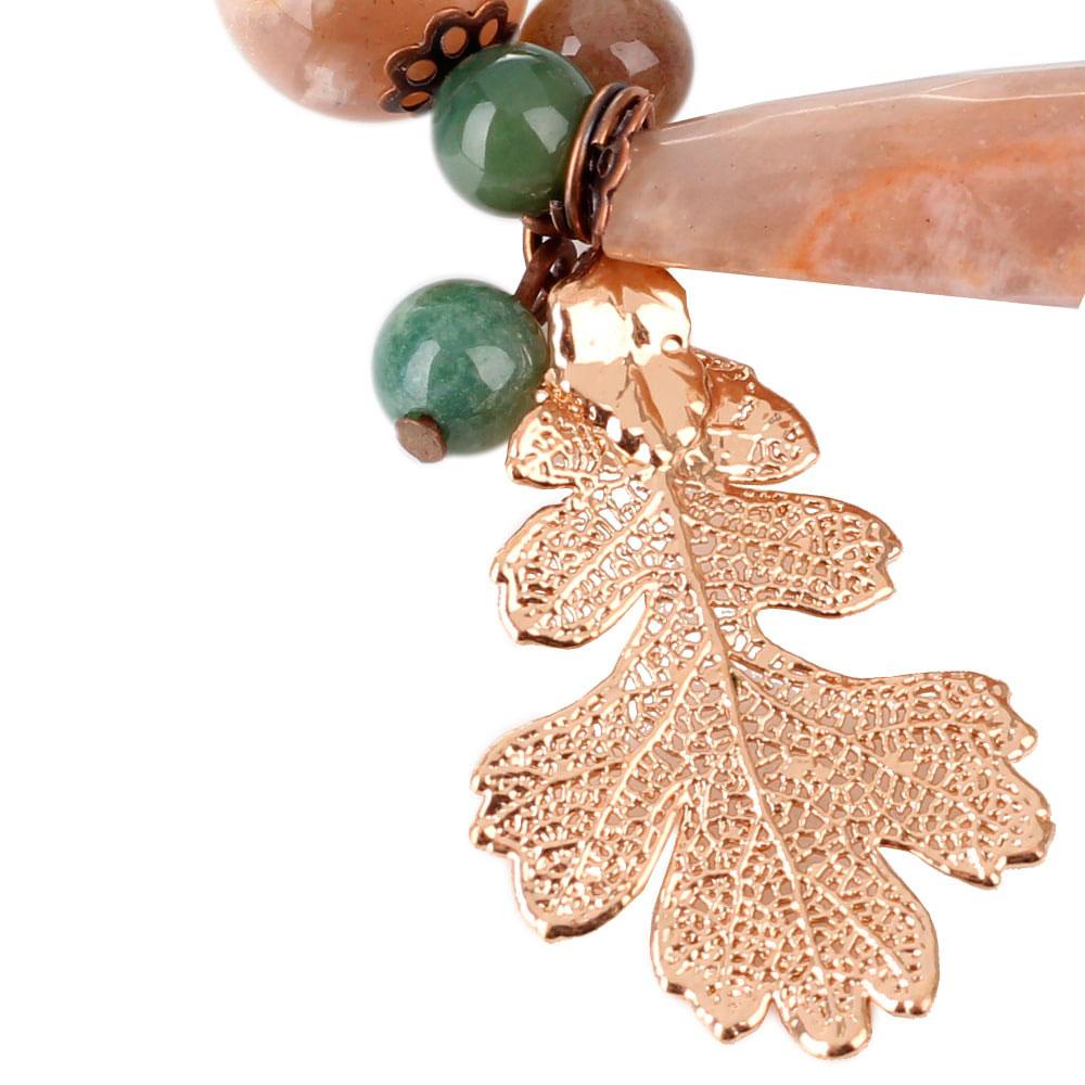 Браслет Ester Bijoux с листом дуба в розовом золоте