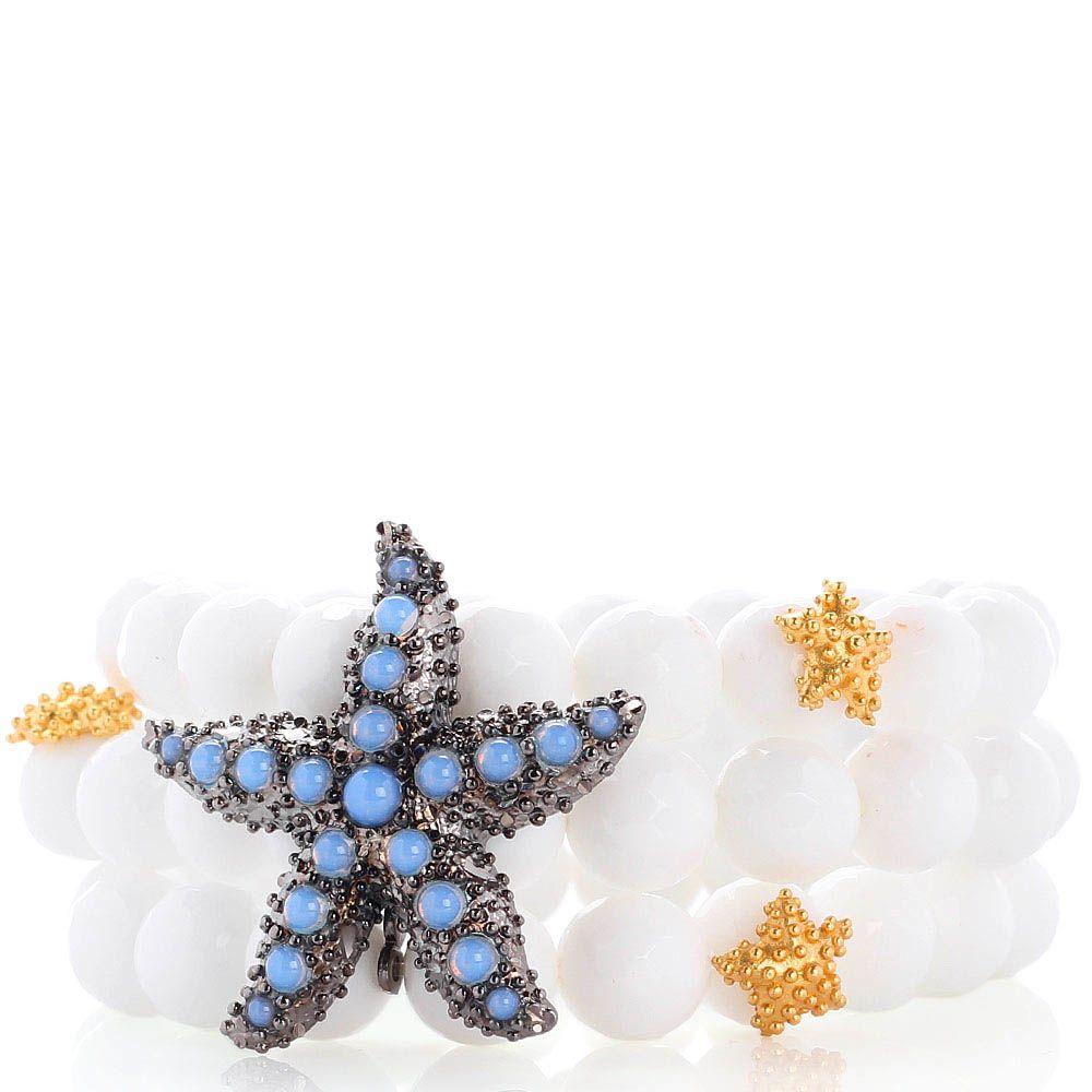 Тройной браслет Misis Moorea из белых агатов со звездой с голубыми опалами