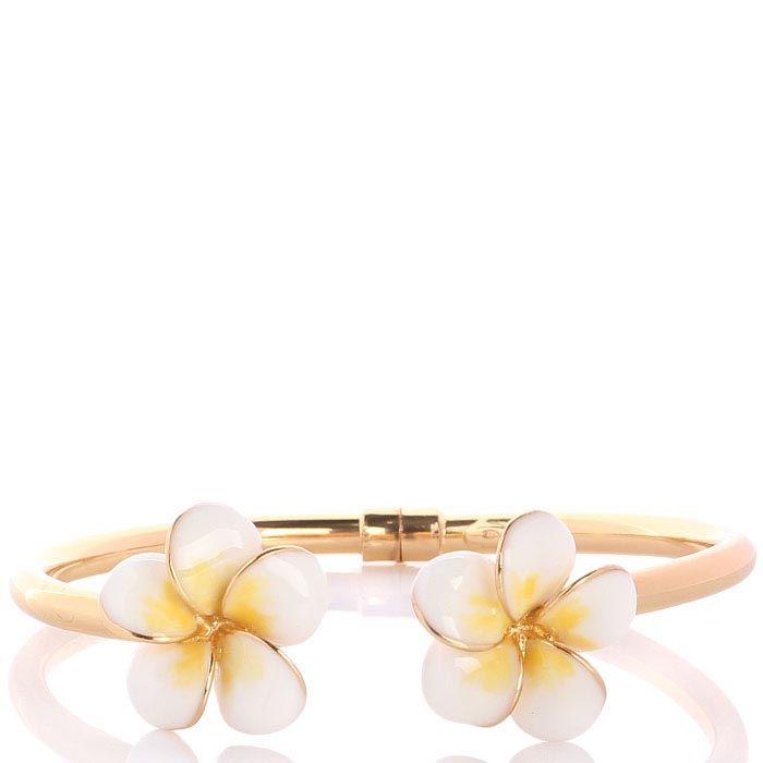 Браслет с позолотой Misis De return natura с двумя тайскими цветами в бело-желтой эмали