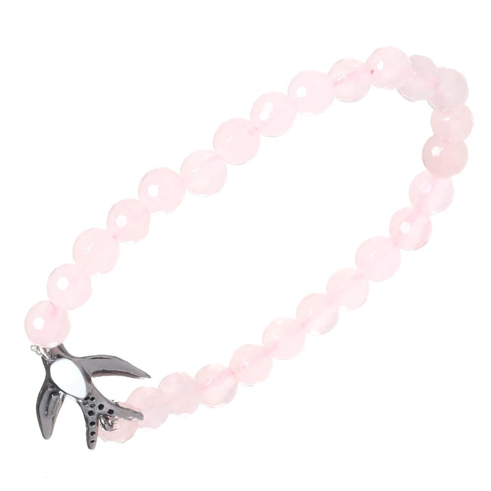 Розовый браслет Misis Ласточка с кварцем