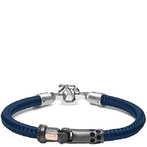 Синий браслет Baraka Croce Cardano с черными и белыми бриллиантами