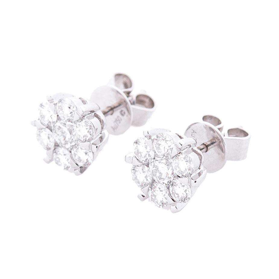 Гвоздики с бриллиантами Оникс из золота