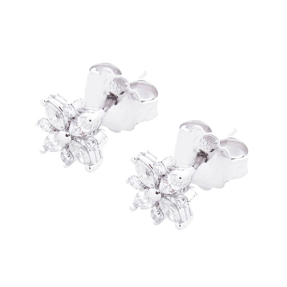 Бриллиантовые гвоздики Оникс в форме цветов