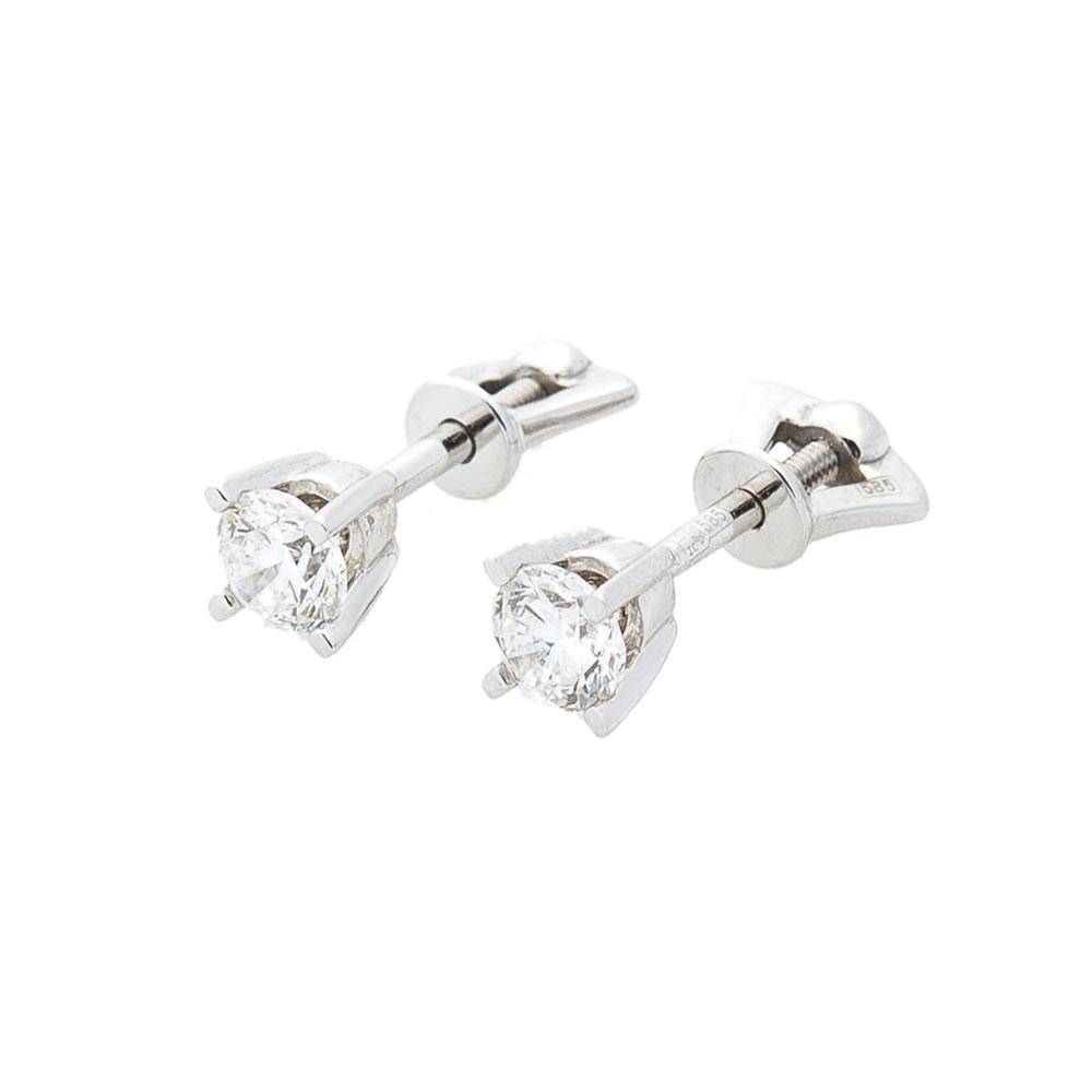 Cерьги-гвоздики Оникс из золота с бриллиантами