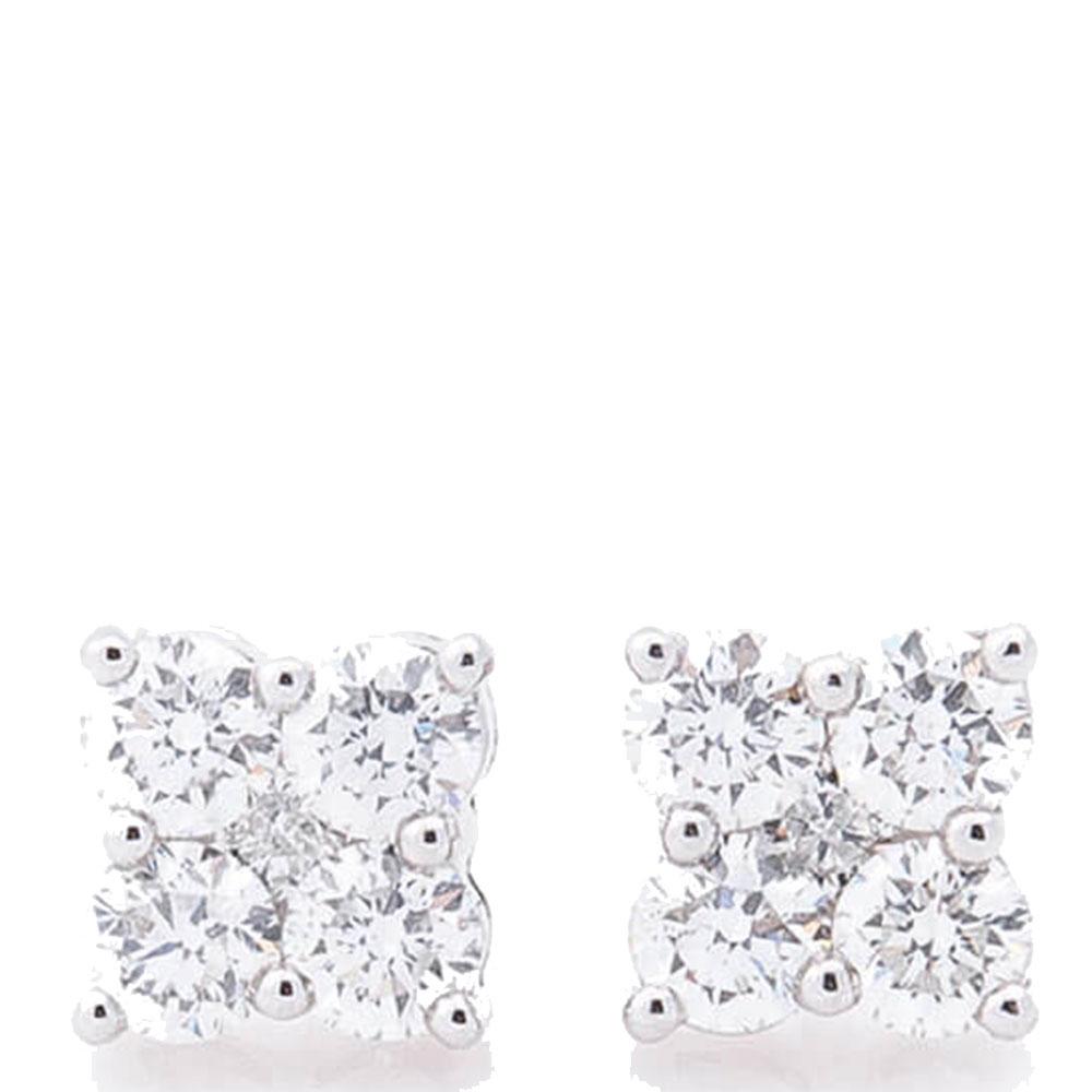 Гвоздики Оникс из белого золота с бриллиантами