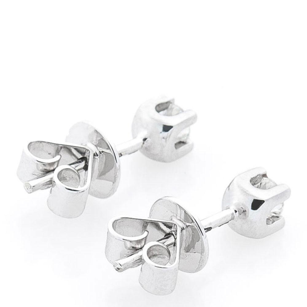 Серьги-гвоздики с бриллиантами из белого золота