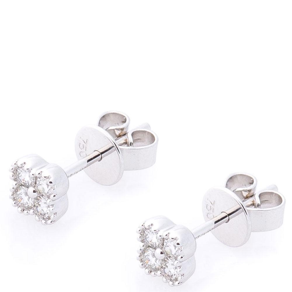Серьги-пусеты Оникс с бриллиантами из белого золота